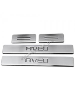 Накладки на пороги в салон Chevrolet Aveo
